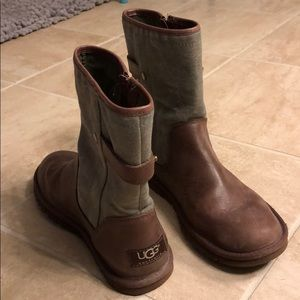 Ugg brown and canvas boots, size 6